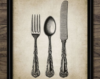 Fork Knife And Spoon Print - Silverware Design - Cutlery - Kitchen Decor - Dining Room Wall Art - Single Print #840 - INSTANT DOWNLOAD
