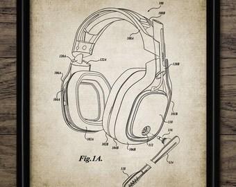 Vintage Headphones Print - Audio Headphones - Music Wall Art - Music Gift Printable Art - Single Print #891 -INSTANT DOWNLOAD
