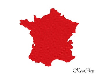 Map of France  - Machine Embroidery Design Instant Download