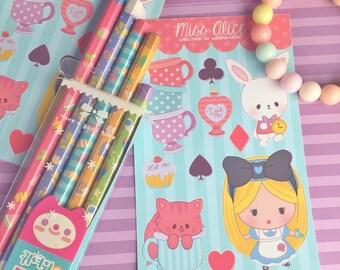 Alice in Wonderland Sticker Sheet - Kawaii Stickers, Kawaii Stationery, Alice Planner Stickers, Cute stickers, White Rabbit Cheshire Cat Tea