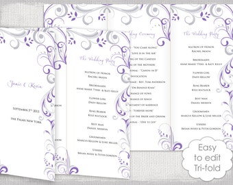 Wedding Order Of Service Scroll Template For Word