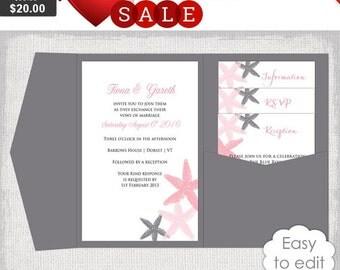 "Pocket Wedding Invitation Template DIY Beach salmon and charcoal gray Pocketfold invitation templates ""Starfish"" 5x7"" YOU Edit Word Download"