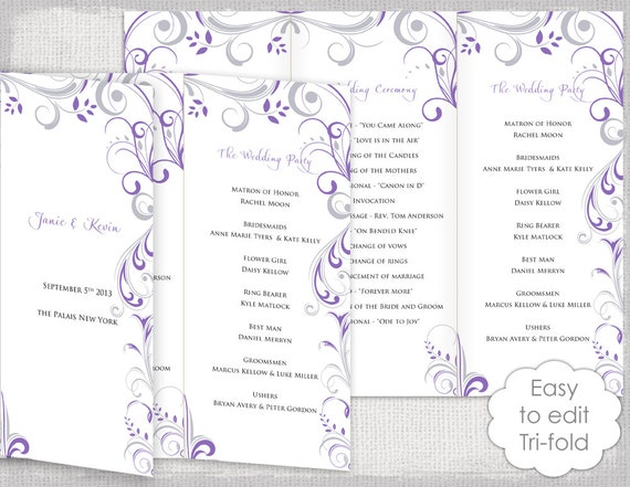 Trifold Wedding program template Wisteria and silver