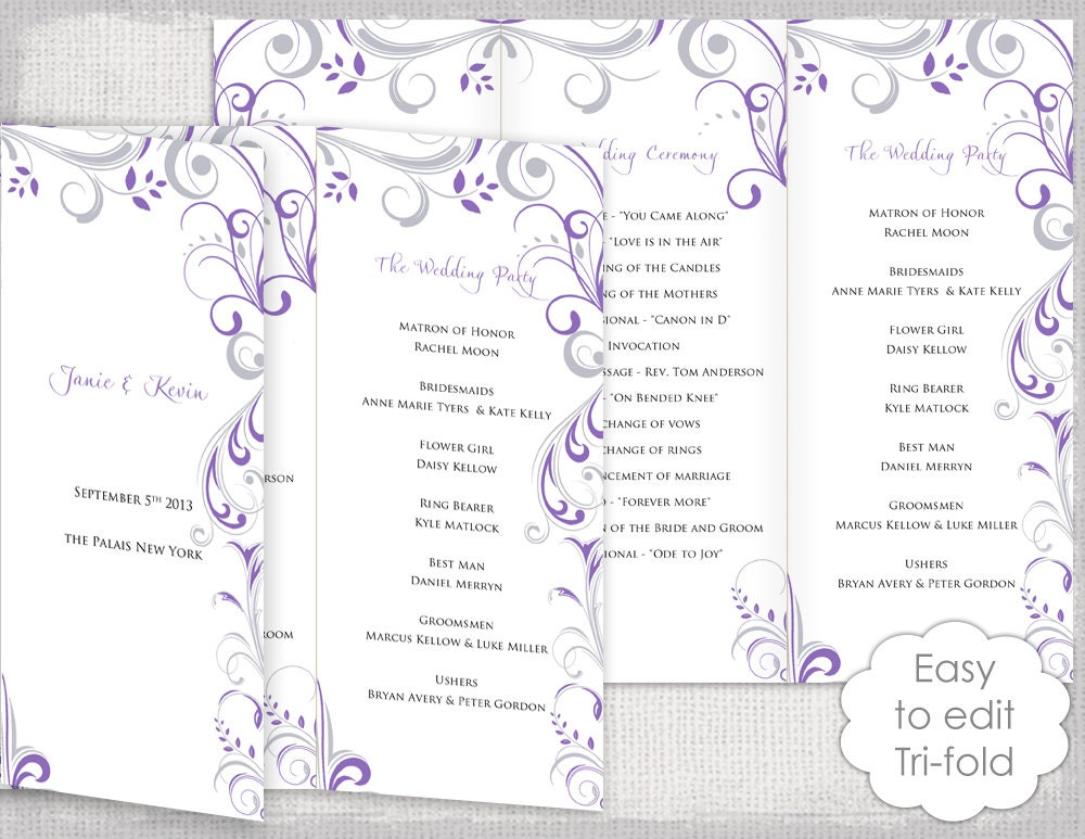 tri fold wedding program template publisher tags trifold wedding