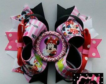 Minnie mouse Hair Bow, Minnie mouse Boutique Style bow, Minnie hair bow,  Minnie bow, Minnie mouse party, Minnie mouse bow, Minnie mouse