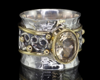 Citrine & 925 Sterling Silver Ring with Brass Detailing, Dress Ring, Statement Ring US Size 8 1/2 (Q 1/2) #B305