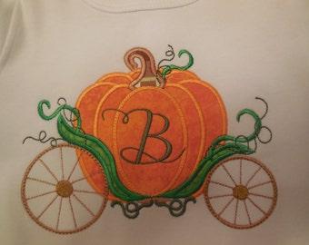 Pumpkin shirt, Halloween Shirt, Thanksgiving Shirt, Fall Shirt, Pumpkin Carriage Applique with Initial