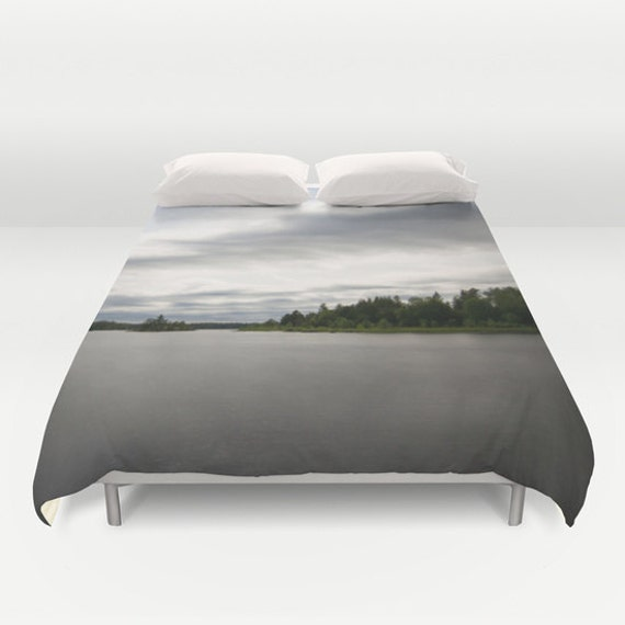 Duvet Cover, Boundary Waters, Lake Images, Nature Photography, Bedroom Decor, Minnesota Images, Grey Blue Green, Photo Bedding, Unique Gifts