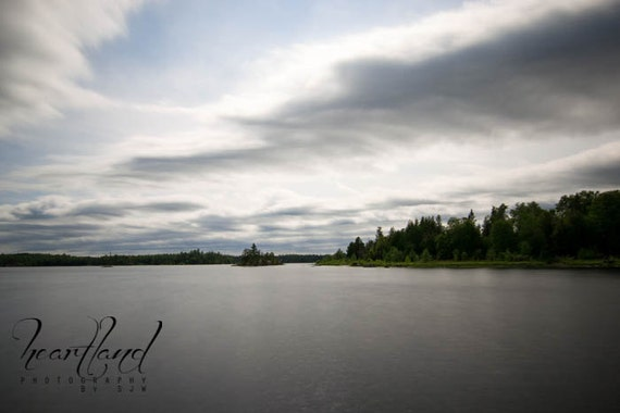 Large Wall Art, Nature Photography, Long Exposure, Calm Lake, Boundary Waters, Minnesota Print, Water Landscape, Cloudy Sky, Grey Green Blue