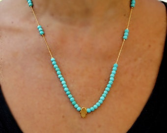 Hamsa Necklace with Turquoise beads, Turquoise and Coral Necklace , Evil eye and elephant charms