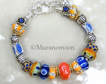 Orange Tangerine Royal Blue Glass Bead Lampwork European Bracelet Swarovski Crystal Beaded Charm Bracelet Large Hole European Charm #EB1361