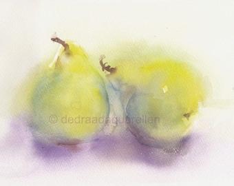 Two pears. Original watercolour.