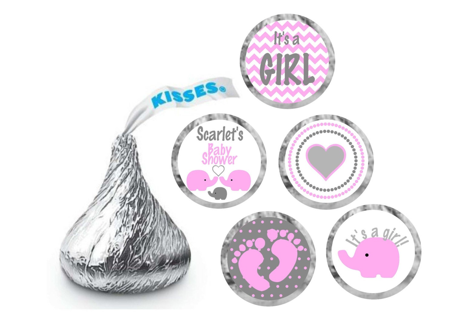 Baby Shower Stickers For Hershey Kisses ~ Hershey kiss stickers baby shower elephant