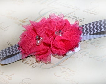 Hot Pink and Gray Chevron Headband