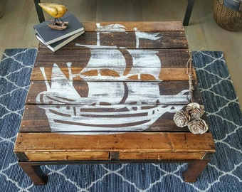 SOLD***Rustic ship coffee table made from reclaimed wood and aged wrought iron