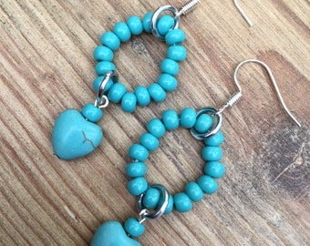 STOCK CLEARANCE-Turquoise heart and hoop earrings