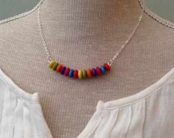 Rainbow bar becklace