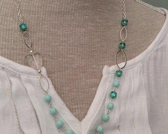Green Czech glass necklace