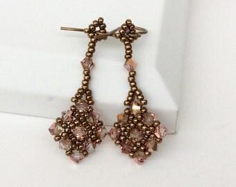 Beadwoven Swarovski Crystal Diamond Dangle Earrings , Beadwork, Handmade , Rose- Gold Crystal Drop Earrings,