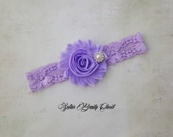 Lavender headband. Lace headband. Lace headband baby. Lace headpiece. Purple headband. Newborn headband. Infant headbands. Flower headband
