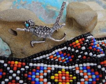 ROADRUNNER pin Hatband/headband or Belt Seed beads NATIVE AMERICAN lot 2 items dr13