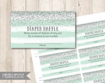 Silver Glitter Blue Diaper Raffle Tickets, Watercolor Baby Blue Baby Shower, DIY Printable, INSTANT DOWNLOAD