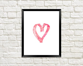 Pink Love Heart Watercolor Digital Print