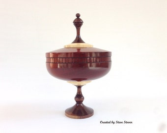 Wood Turned Urn - Honduran Mahogany Pedistal Urn - Hollow Vessel - Urn for Ashes