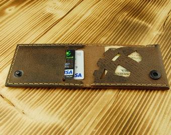 Steampunk wallet Men's wallet Leather slim wallet Brown wallet Men wallet