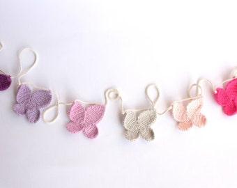 Crochet butterfly garland, butterfly nursery decor, baby girl nursery decor, crochet butterfly, baby girl furniture