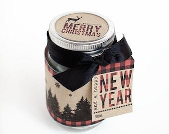 Gift Under 5 - Last Minute Gift - Rustic Gift - Christmas Mason Jar Label - Mason Jar Gift - Neighbor Gift - Buffalo Plaid - Printable