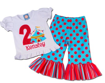 Girl's Circus Birthday Outfit with Circus Tent Shirt and Ruffle Pants - F6, F43