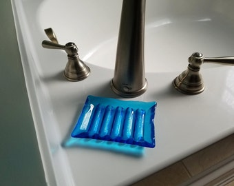 Blue Fused Glass Irridescent Soap Dish