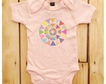 Abstract Triangle Colour Wheel Powder Pink Baby Grow / Bodysuit