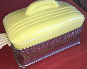 REDUCED! Vintage Hall Yellow Covered Refrigerator Dish with latice silvertone metal holder rack