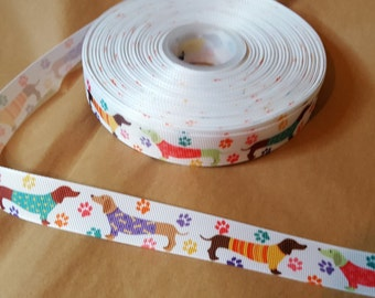 Sweaters weiner dog dachshund printed grosgrain ribbon for hair bows, scrapbooking, other crafts - sold in lengths of 1, 3, or 5 yds - M1614