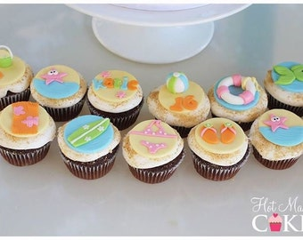 Beach themed fondant cupcake toppers