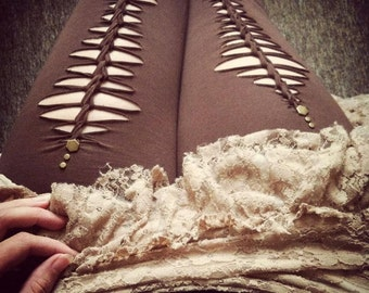 Earthy Fae Garter Leggings ~ Slashed Braided & Studded