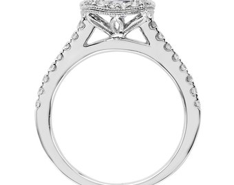 Moissanite Diamond Halo Engagement Ring 1.20ct Round Forever One Ring .41ct Natural Diamond white gold Wedding Ring Pristine Custom Rings