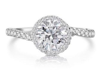 Moissanite Ring Round 1ct Forever One Moissanite  .41tw Natural Diamonds Platinum Engagement Ring Swirl Ring Pristine Custom Rings
