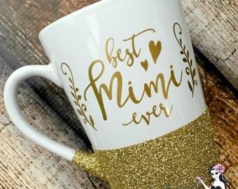 Best Mimi Ever coffee mug, coffee mug, mug, ceramic, glitter, mimi, handmade, coffee cup, cup, designer cup, gift