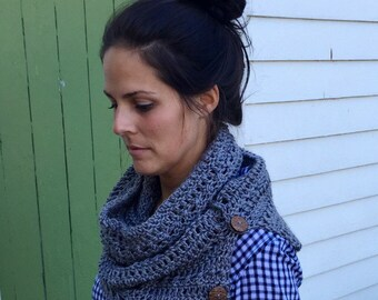 The Nantucket - Button Infinity Crochet Scarf Cowl