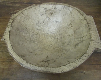 Chubster Deep Rustic Wooden With Handles #1-Batea-Trencher-Batea-Doughboard-Doughbowl-White Shabby-16x15x8
