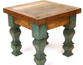 Reclaimed Wood Rustic End Table-18 x 18 x 17 in-Western-Vintage Look-Rustic-Repurposed-Turquoise Legs