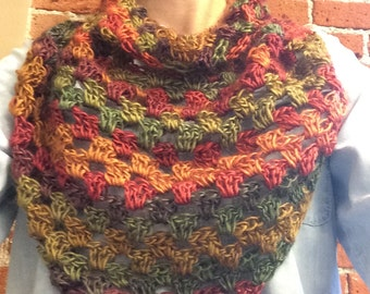 Hand made crochet Shell Shawl triangle scarf