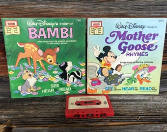 Vintage, Bambi Cassette Tape and book, Mother Goose, Rhymes, cassette Tape, and Book, Children's Stories, kids stories,  Bedtime stories