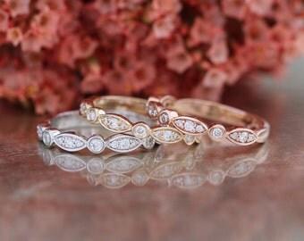 Bezel Set Scalloped Diamond Wedding Band Half Eternity Ring, Stacking Ring, Promise Ring, Anniversary Ring in 14k White, Rose or Yellow Gold