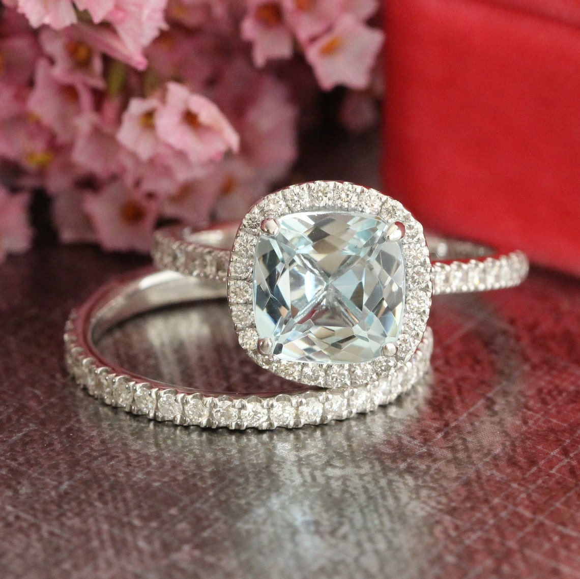 Aquamarine Wedding Ring Set In 14k White Gold Halo Diamond
