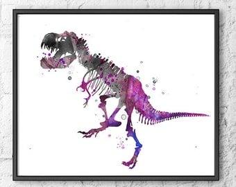 Art Print T-Rex Painting Dinosaur Bones Watercolor Painting Print, Grey Purple Watercolor Art, Kids Room Dceor, Children Art - 258A
