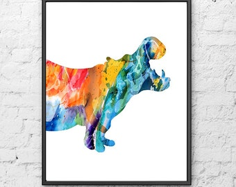 Watercolor Print Hippo Illustration, Hippo Poster, Watercolor Children Art, Animal Art, Kids Wall Decor, Kids Art, Children Print - H45